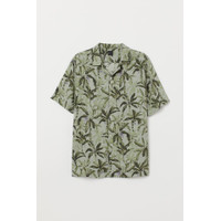Kemeja H&M Patterned Resort Shirt Green Leaf Original HnM Pantai Beach