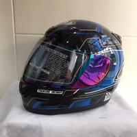 Helm JPN fullface F3 hitam gloss stiker biru