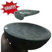 Cobek Batu Asli Penghalus Bumbu Dapur 20 cm GRATIS Ulekan