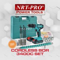 Cordless NRT PRO DC340 SET 20V Mesin Bor Portable Tembok Hammer Drill