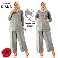 Baju Setelan wanita, Baju+ Celana kulot, Baju Muslim - Abu-abu, XL