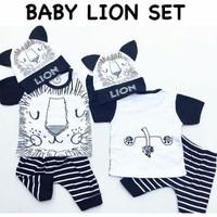 Baju setelan kaos celana topi bayi motif lucu pergi bayi cowok laki