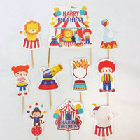 topper hiasan kue cake ulang tahun happy birthday animal circus sirkus