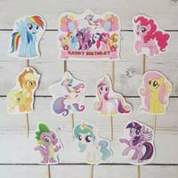 topper hiasan cake ulang tahun happy birthday kuda poni little pony
