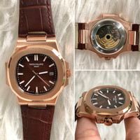 Jam Tangan Pria Patek Philippe Nautilus Leather Matic 40mm Grade AAA