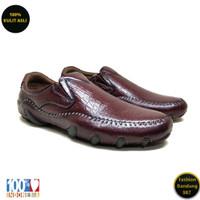 Sepatu kasual pria sol tanam kulit asli model slip on premium AVD 03