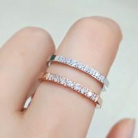 Cincin Titanium Steel Wanita Gaya Korea Eight Planting Diamond Zircon