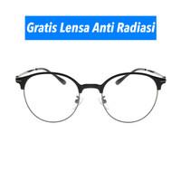 Frame Kacamata -Pria/Wanita -Round Vintage 2736 Black- Minus by zk