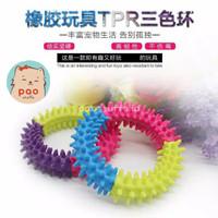 TPR Ring Mainan gigit kunyah bulat anjing kucing Chewing pet dog toy