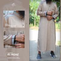 Jubah Gamis Pria Modern Model Saudi Lengan Panjang Bahan Katun Linen