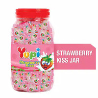 Yupi Strawberry Kiss Jar 300 gr Yuppy Cemilan Permen