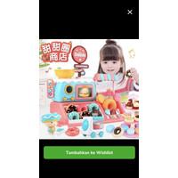 Mainan etalase jual donut cashier shop cart kasir toys kingdom