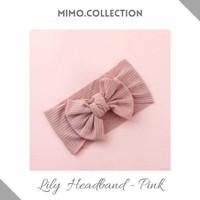 Lily Bow Baby Headband cotton pita Bando Bandana Turban Anak Bayi - Merah Muda