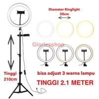 Ringlight Tripod 3in1 Stand Portable Warna 3 Lampu Bright Level