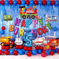 paket set balon birthday ulang tahun cars mobil train truk dekorasi