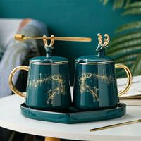 Set Glass Love Reindeer Teapot Minum Set Teko Nampan Plateful Co