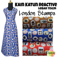 Kain Katun Reactive London Stamps Lebar 115cm