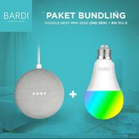 Paket Promo Google Home Nest 2 + Lampu BARDI Smart Light Bulb 9W RGB
