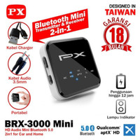 PX Bluetooth 5.0 Receiver dan Transmitter 2 in 1 Px BRX-3000 Mini AptX