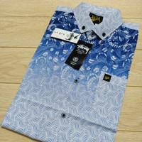 Kemeja Motif Pria Formal Putih Biru Premium Kemeja Lengan Pendek Murah - Biru, M