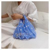 Korean Style OrganzaTote Bag/ Bag Korea Sulam - Biru