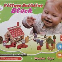 Block Puzzle Village Building Wooden Toys - Balok Susun Kayu