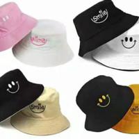 Topi Bucket Smile Bordir Bolak Balik 2 Warna Premium