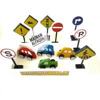 Mainan Edukasi Kayu Balok Rambu Lalu Lintas
