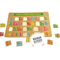 Mainan Edukasi Puzzle Kayu Huruf Besar Huruf Kecil dan Angka