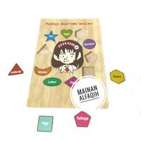 Mainan Edukasi Puzzle Kayu Anatomi Wajah Anak Perempuan