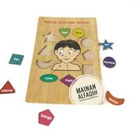 Mainan Edukasi Puzzle Kayu Anatomi Wajah Anak Laki