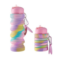 Botol Minuman silicone Lipat Botol Minum Anak isi 500ml - Rainbow