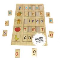 Mainan Edukasi Puzzle Kayu Belajar Membaca dan Menulis