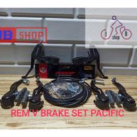 REM V BRAKE SET KOMPLIT HANDLE ALLOY SEPEDA MTB BMX LIPAT TEBAL KUAT