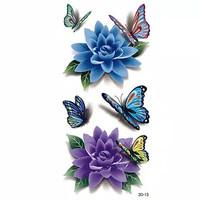 HN - DIY 3D Body Art Temporary Tatto / Tato Stiker Motif Bunga