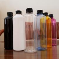 Botol Plastik 250 ml + tutup ulir Almunium Hitam - Putih