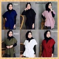 outfit baju atasan muslim wanita blouse kya blus hem tunik putih