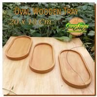 Baki Nampan kayu oval 20x10 Wooden tray plate piring kayu serving tray