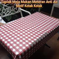 Taplak Meja Makan Kotak Kotak Anti Air - Taplak Meja Makan Waterproof