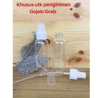 Botol Plastik Bening 100 ml Tutup Spray Putih Susu Neck 24