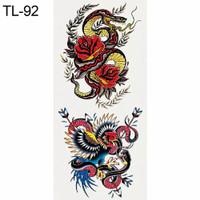 HN - DIY Sticker Temporary Tattoo / Stiker Tato Motif Ular dan Bunga