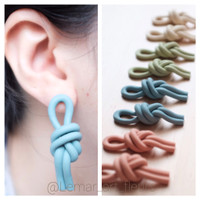statement knot drop clay earrings, anting polymer clay handmade