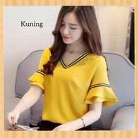baju atasan wanita blouse list blus casual hem tunik outfit kuning
