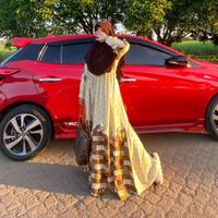 Gamis Hilya The Day Dress Busui Friendly Warna Pastel Caramel Size S