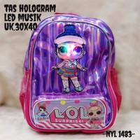 Tas Ransel Lol Hologram Led Tas Anak Perempuan TK SD Warna Purple