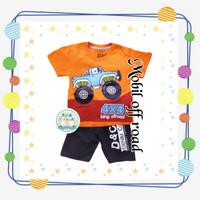 Size 1-10 Setelan Pendek Anak Karakter Mobil 4x4 King Ofroad Orange - Size 1