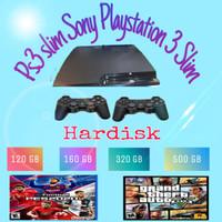 Ps3 slim Ps 3 slim Sony playstation 3 slim hdd 120 sd 500 GB Full game - Random, Mesin aja 120