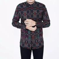 Kemeja batik songket lengan panjang pria murah baju kondangan formal - A01, M