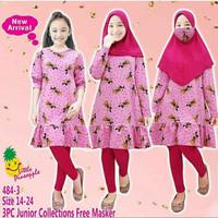 Set tunik hijab Junior Lp484-3 untuk anak perempuan setara 8-14 thn