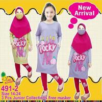 Set tunik hijab Junior LP491-2 untuk anak perempuan setara 8-14thn